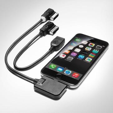 Juego de cables adaptadores para Audi music interface para terminales móviles con conector Apple Lightning y conector USB, boquilla blanca