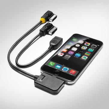 Juego de cables adaptadores para Audi music interface para dispositivos Apple con conector lightning y USB, boquilla amarilla