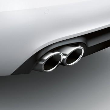 Embellecedores de tubo de escape deportivos para vehículos con tubo de escape doble a la izquierda, cromado plateado