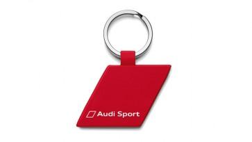 Llavero, rombo, metal, Audi Sport, rojo
