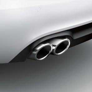 Embellecedores de tubo de escape deportivos para vehículos con tubo de escape doble a la izquierda, cromado negro